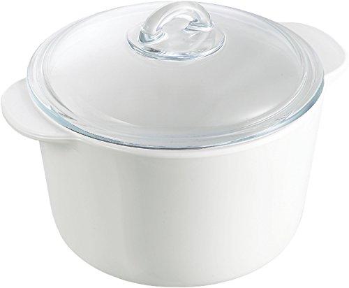 Pyrex Flame - Cacerola redonda, 3 l, vidrio cerámico, color blanco + tapa, transparente