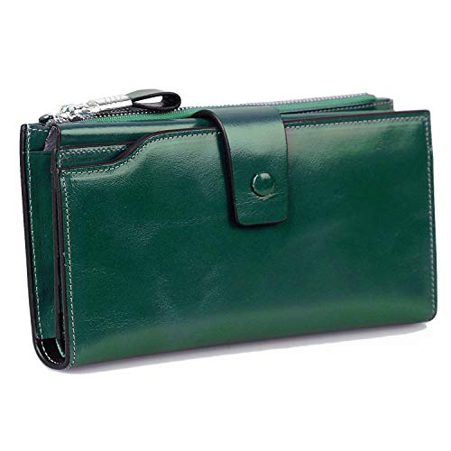 Jack&Chris Women's RFID Blocking Luxury Wax Genuine Leather Clutch Wallet Card Holder Organizer Ladies Purse, WB301 (green) -