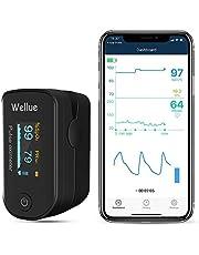 Welllue pulsoximeter, Bluetooth finger syre nivå bildskärm, Sp-02 nivå och pulsmätning, app via Bluetooth, bärbar SP-O2-enhet, svart