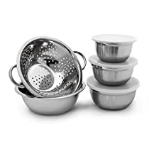 Relaxdays Stainless Steel Bowl Set of 5 Pieces Diameter 14, 16, 18, 24 cm, Mixing Bowls In Different Sizes Salad Bowl With Keep-Fresh Lid Incl. Colander Serving Bowl Set, Silver