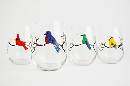 Four Seasons Stemless Wine Glasses, Set of 4 Bird Glasses, Painted Bird Glassware