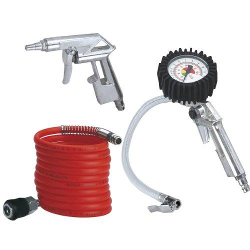 Einhell Druckluft Set, 3-teilig passend für Kompressoren (4 m Spiralschlauch, Reifenfüllmesser, Ausblaspistole kurz)