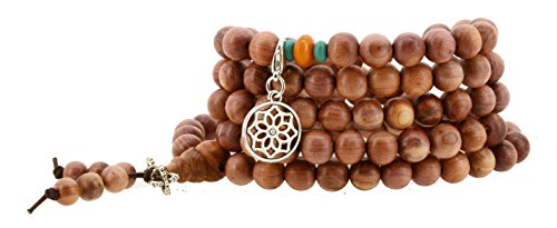 Flower And Bead Necklace (108 Tibetan Cedar Yoga Meditation Prayer Beads Mala Necklace Wrap Bracelet (Mandala))