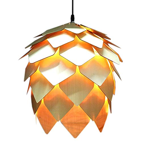 Rindasr Simple Post-Modern Wooden Chandelier, Pine Cone Creative Decorative Ceiling lamp, Cafe Restaurant Bedroom Solid Wood Lighting Tools 5 Light Pinecone Chandelier