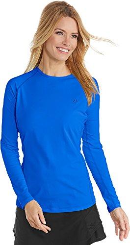 Baja Womens Shirt - Coolibar UPF 50+ Women's Long Sleeve Hightide Swim Shirt - Sun Protective (3X- Baja Blue)