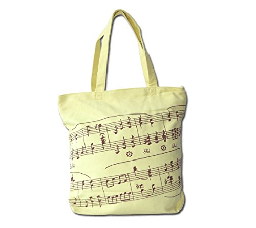Music Symbols Print Canvas Tote Handbag Shoulder Shopping Bags Gift (Yellow-MG-349)