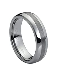 6mm High Polish Brushed Center Domed Tungsten Carbide Wedding Band