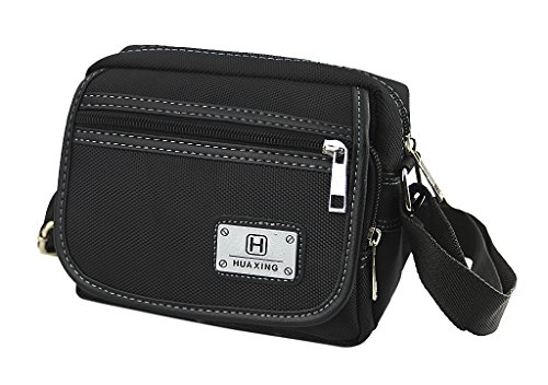 Messenger Cross Black Should Shoulder Bag Lightweight Multi Sling Nylon Style Casual Body Strong pocket wCYvvq