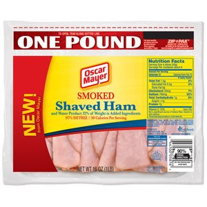 - OSCAR MAYER LUNCH MEAT COLD CUTS SMOKED HAM SHAVED 16 OZ PACK OF 2