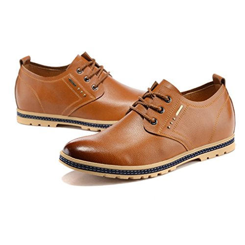 Height Casual Brown Oxfords 2 Increasing Taller 17 Genuine Elevator Shoes inches Leather Fashion Business TOq8xXOP