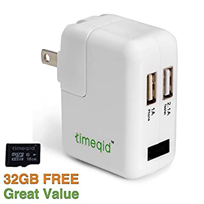 Hidden Camera Charger by Timeqid | Free Memory Card Included - With/Without WiFi - Double Charging Ports - Full HD 1080p - Nanny Camera - White by Timeqid
