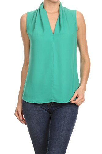 ReneeC. Women's Solid V Neck Sleeveless Office Tank Blouse Top - Made in USA (X-Large, Green) - Turquoise Sleeveless Top