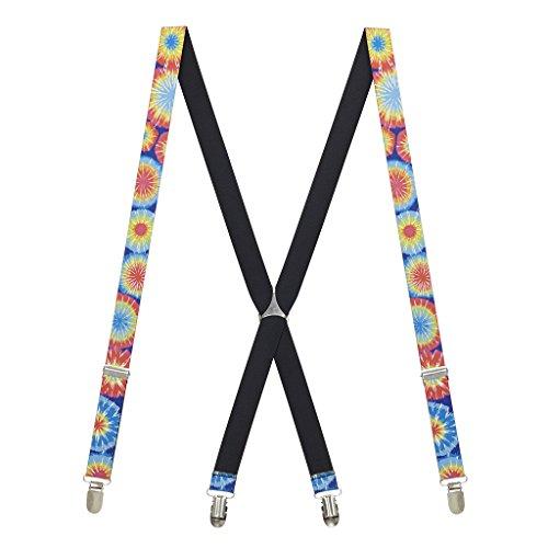 Bright Colorful Rainbow Tie-Dye Sunbursts Suspenders