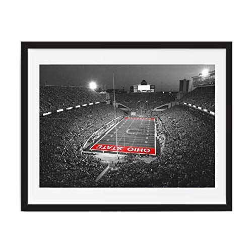 (M-D Building Products Framed Art, Ohio State Stadium, Ohio State Buckeyes Framed Wall Art, Ohio Stadium 11x14 Print Framed 14x18 Black Wood Pine Frame matted Glass Finish )