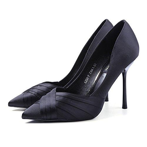 YMFIE primavera y el verano, fino y puntiagudo superficial moda temperamento elegante banquete de fiesta zapatos de tacón alto solo zapatos de damas,37,a la UE 37 EU
