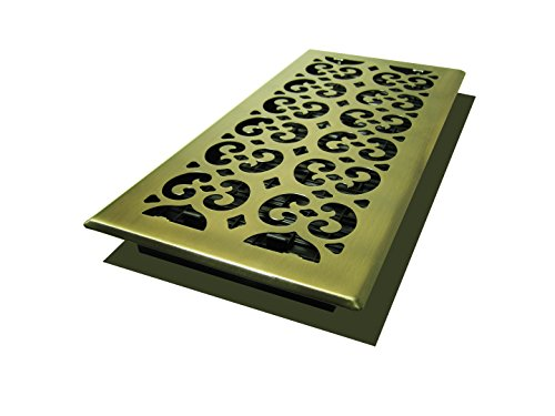 Brass Scroll - Decor Grates SPH614-A Scroll Floor Register, 6-Inch by 14-Inch, Antique Brass