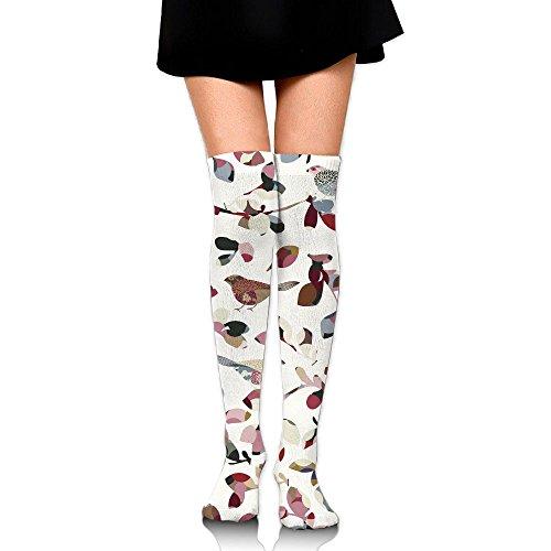 Flowers And Birds Women's & Baby Girl's 3D Print Knee High Socks Colorful Long Socks Sports Knee High Cotton Socks