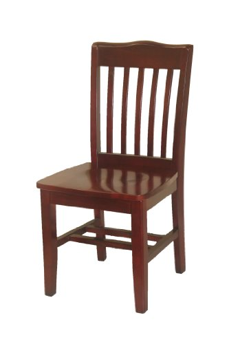 Schoolhouse Restaurant Chairs (Oak Street Manufacturing WC615MH Solid Mahogany Wood Frame Schoolhouse Dining Chair with Mahogany Wood Seat, 18