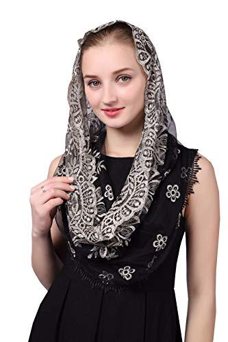 Gold Embroidered Infinity Veil Traditional Vintage Inspired Mantilla Chapel Veil