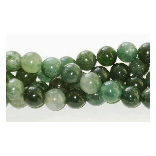 Agate 2 Strands - Charming Beads 16 Strand Moss Agate 6mm Round Beads GS1646-2