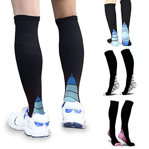 3 Pairs Compression Socks 20-30mmHg for Men & Women Great Recovery Performance Stockings for Running, Medical, Athletic, Diabetic, Varicose Veins, Travel, Pregnancy, Relief Shin Splints, Nursing