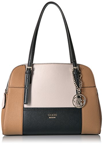 GUESS Huntley Big Grain Cali Satchel, Black/Multi by GUESS