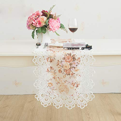 WSHINE Yellow Floral Table Runners Dresser Scarf White Lace Doilies Embroidered Scarves Wedding Party Furniture Cover Cabinet Tablecloth (Table Runner 40220cm(1687 Inch))