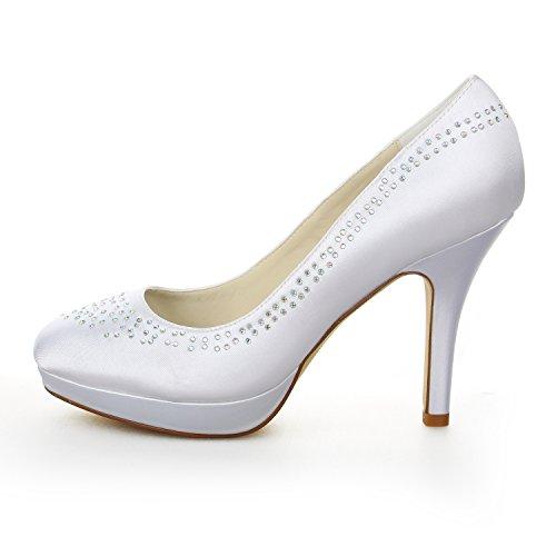 Mariée JIA Plateforme Blanc Satin JIA Bout Chaussures Strass de Aiguille Pompes Mariage de en à Fermé Talon Pour Femme 37087 Chaussures dtwqAwO