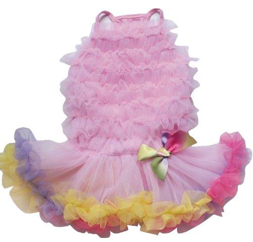 PAWPATU Rainbow Ruffle Petti Dress for Dogs, Small, Pink