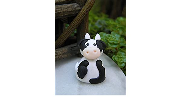 Miniature Dollhouse FAIRY GARDEN Accessories ~ Small Polymer Clay Cow ~ NEW