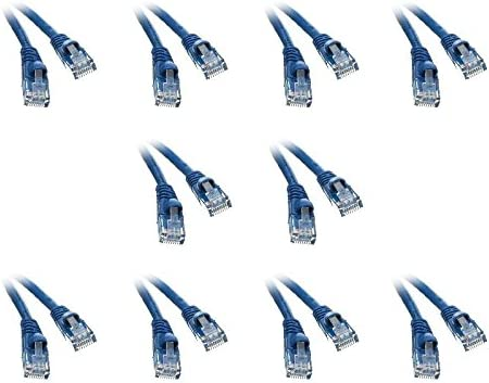 2 Pack Cat5e Ethernet Patch Cable Snagless//Molded Boot 2 Feet Blue CNE473791