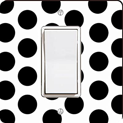 Rikki Knight Black on White Polka Dots Single Rocker Light Switch Plate