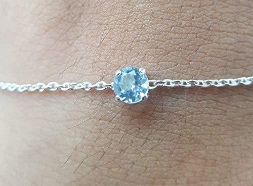 Aquamarine Braceletgenuine Aquamarine bracelet 5mm in Sterling Silver or Gold