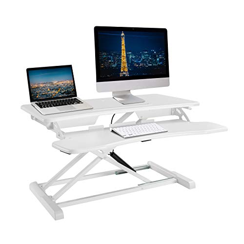 "TechOrbits Rise-X Light Standing Desk Converter - Height Adjustable Stand Up Desk Riser - Sit to Stand Desktop Workstation - 32"" Surface White from TechOrbits"