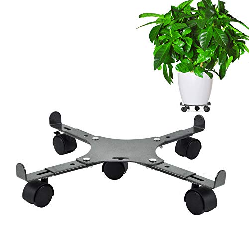 CERBIOR Plant Caddy Adjustable Carbon Steel Plant Pot with Lockable Caster Wheels Move 360-Degrees Heavy Duty with 200Lbs Capacity for Outdoor and Indoor, 5 Wheels (Rolling Plant Stand 24)
