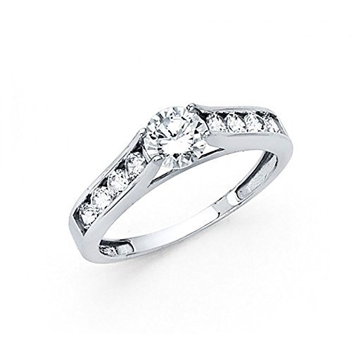 14k White Gold CZ Cathedral Channel Set Engagement Ring