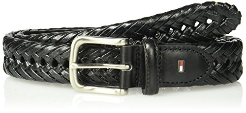 Tommy Hilfiger Leather Braided Belt - Casual for Mens Jeans with Solid Strap Single Prong Buckle, Black, 44