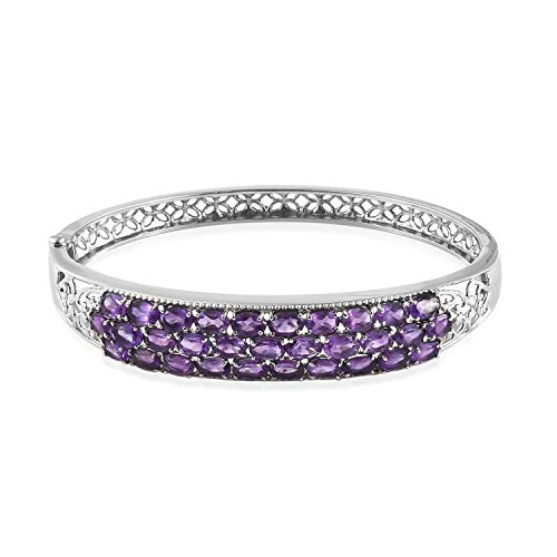 Shop LC Delivering Joy Openwork Bangle Bracelet Stainless Steel Oval Amethyst Jewelry Gift for Women Size 8