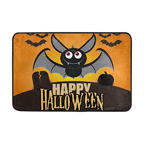 TCHUN Front Door Mat Happy Halloween Funny Cute Flying Bat Durable Indoor Entrance Doormat 23.6 X 15.7 Inches