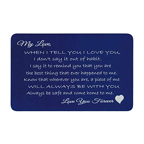 Love You Forever Laser Engraving Metal Wallet Love Note Mini Insert Card to My Husband Wife anniversary - Navy