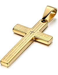 "Mens Stainless Steel Religious Bible Lord's Prayer Cross Pendant Necklace, 22"" Chain"