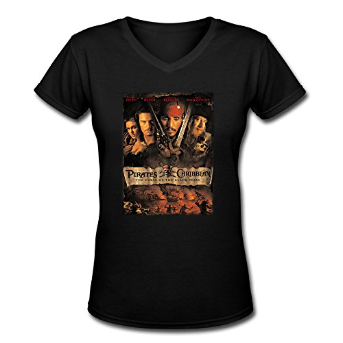 Women's Pirates Of The Caribbean Poster V Neck T Shirts (Pirate Apparel)