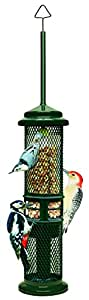 """Brome 1052 Squirrel Buster Peanut Plus 5.1""""x5.1""""x27"""" Wild Bird Feeder with Woodpecker Friendly Tail Prop, 3/4 quarts of Shelled Peanuts"""