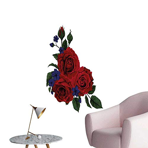 Rose Wall Paintings self-Adhesive Blooming Red Roses with Gentle Wild Flowers Leaves Bouquet Corsage Sofa Background Wall Ruby Violet Blue Hunter Green W20 x H28