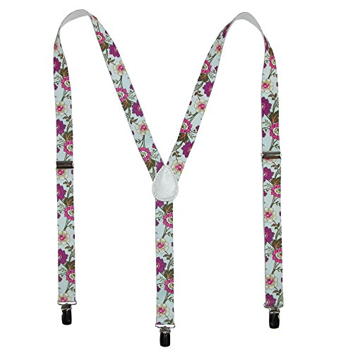 - Parquet Women's Elastic Wild Flower Print Novelty Suspender, Black