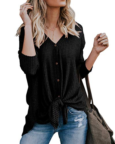 IWOLLENCE Womens Loose Henley Blouse Bat Wing Long Sleeve Button Down T Shirts Tie Front Knot Tops Black L by IWOLLENCE