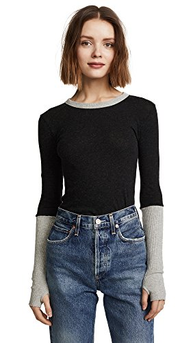 Enza Costa Women's Cuffed Crew Neck Top, Charcoal/Lt Heather Grey, Small ()