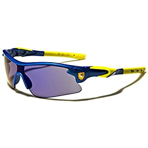 Half Frame Kids Teen Age 8-16 Performance Baseball Cycling Running Sport Sunglasses Color Mirrored Lens (Blue/Yellow Tips)