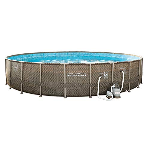 Summer Waves All Round 24 Foot Elite Frame Pool with Wicker Print Exterior