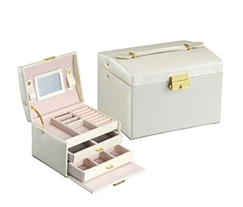 JUDISS Jewelry Packaging Box Casket Box Makeup Case Jewelry Organizer Container Boxes White
